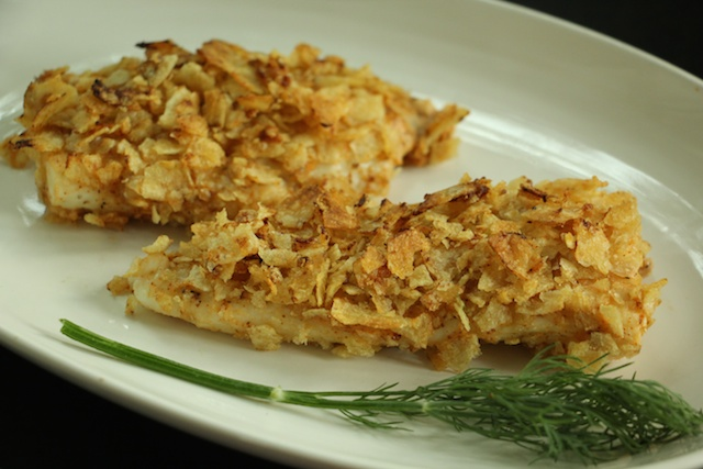 Potato Chip Flounder with Dill Sauce (6)