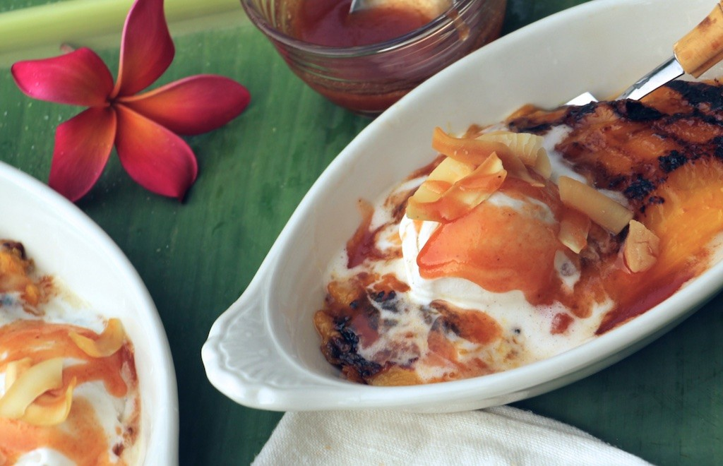 grilled mango splits and guava sauce