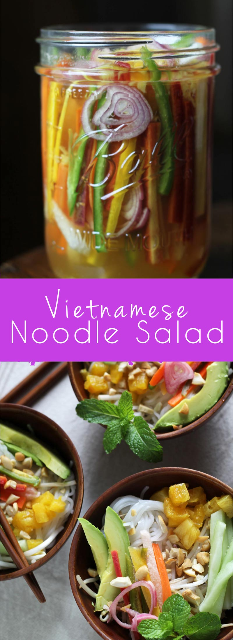 Vietnamese Noodle Salads, aka Bun, with cold rice noodles, crunchy veggies, pickles, aromatic herbs, cashews, and a spicy sauce