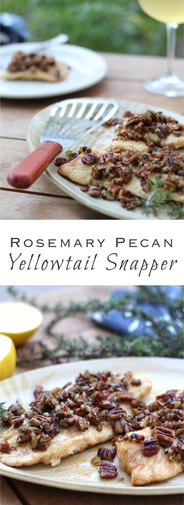 Yellowtail Snapper with toasty pecans, fragrant rosemary, and sweet Vidalia onions- a perfect recipe for Florida holidays!