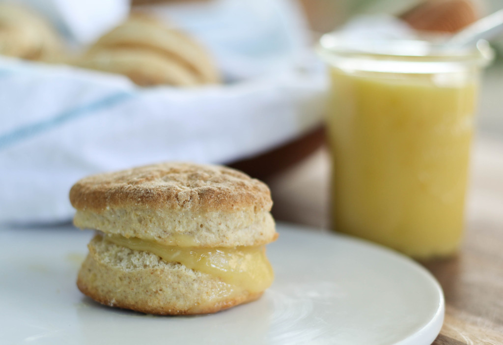 lemon curd on a biscuit