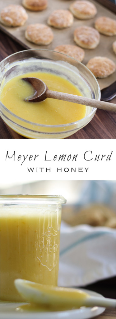 Meyer lemon curd made with honey, a velvety smooth, sweet-tart tea time treat.