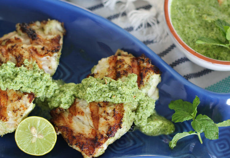 grilled grouper and coconut mint chutney