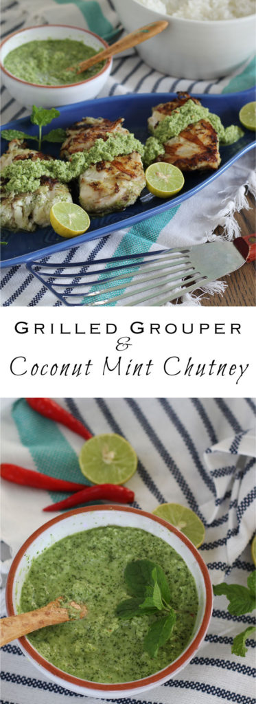 Grilled Grouper with Coconut Mint Chutney