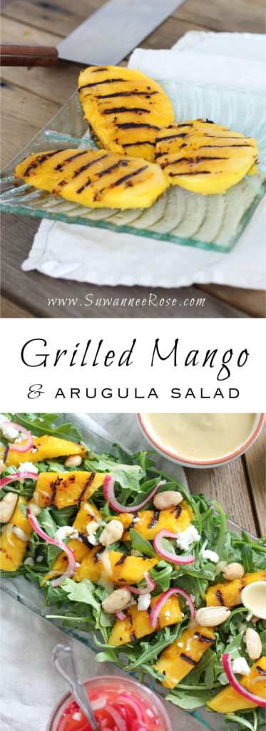 Perfectly grilled mangos over arugula with pickled red onions, feta and Marcona almonds and a creamy tahini-lime dressing. The perfect summer salad for mango lovers everywhere!
