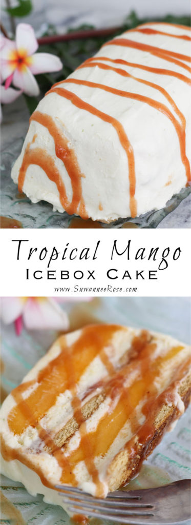 The perfect summer indulgence: layers of mangos with cool coconut-lime cream, cinnamon grahams, and a guava rum sauce.  A tropical fruit lover's dream.