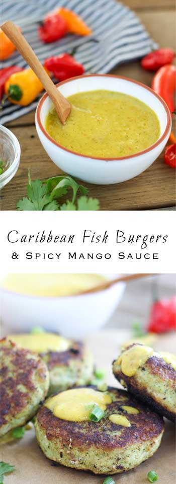 Caribbean Fish Burgers with Spicy Mango Sauce