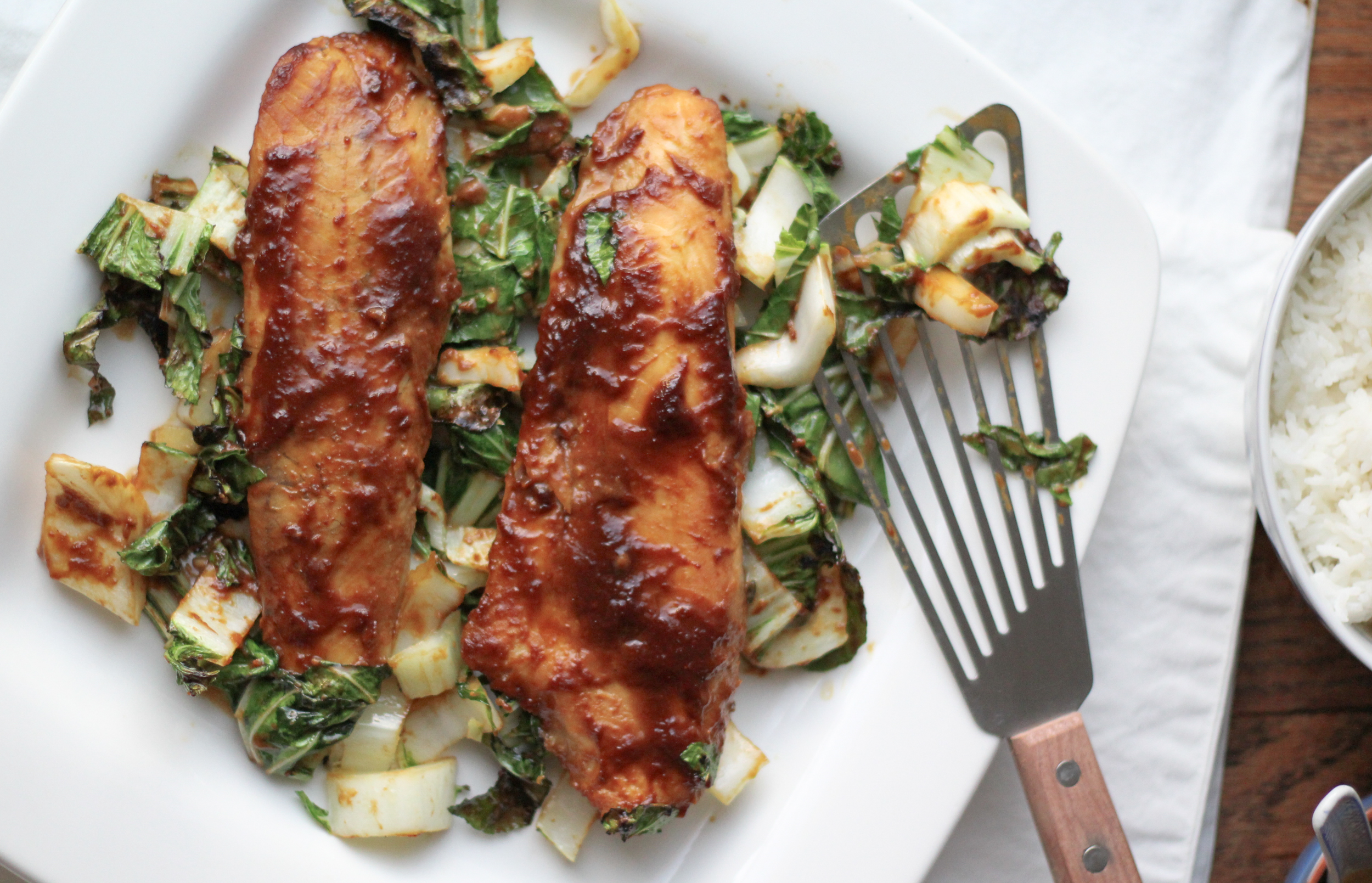 Miso-Coconut Flounder with Bok Choy