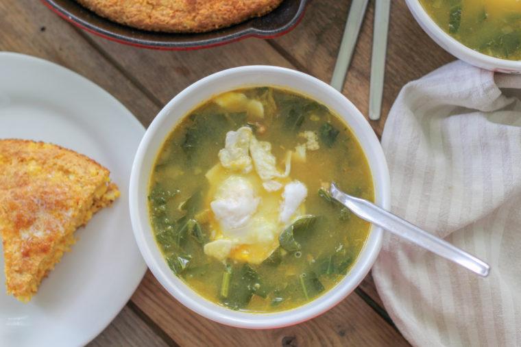Smoky Collard Soup & Southern Skillet Cornbread