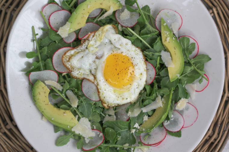 Arugula with an Olive Oil-Fried Egg