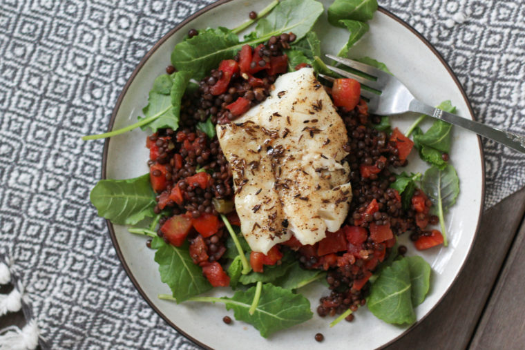 Cumin-Spiked Fish & Black Lentils